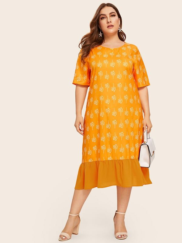 Plus Neon Orange Ruffle Hem Plants Print Dress, Franziska