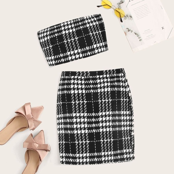 Houndstooth Bandeau Top & Skirt Set, Black and white