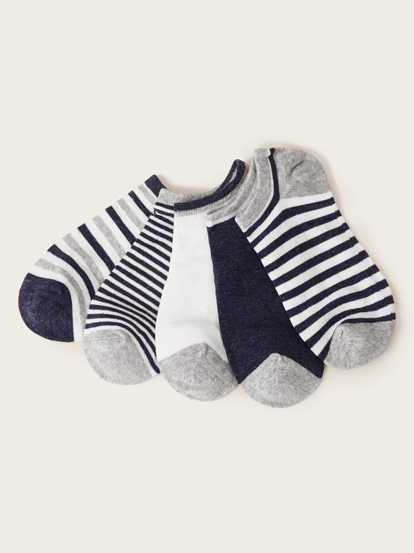 Men Striped Pattern Ankle Socks 5pairs, null