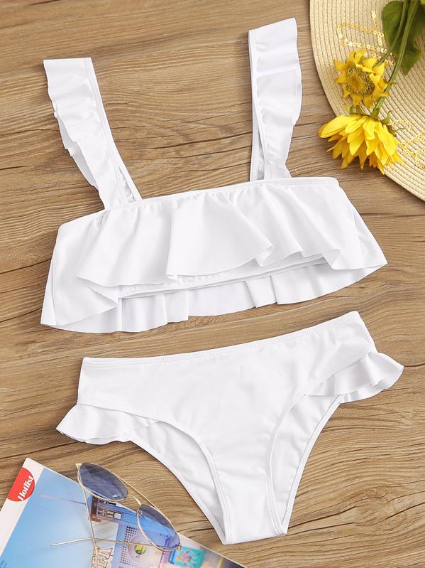 Ruffle Top With Panty Bikini Set, White