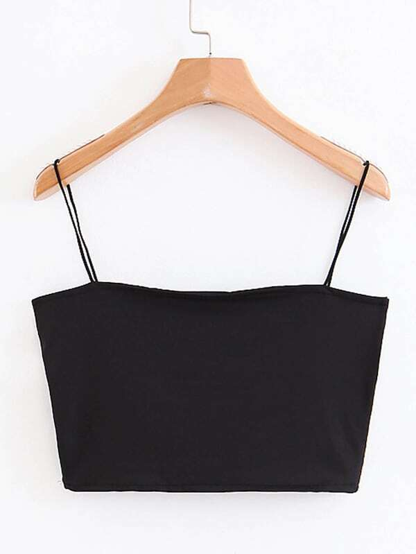 Plus Solid Cami Crop Top, Black