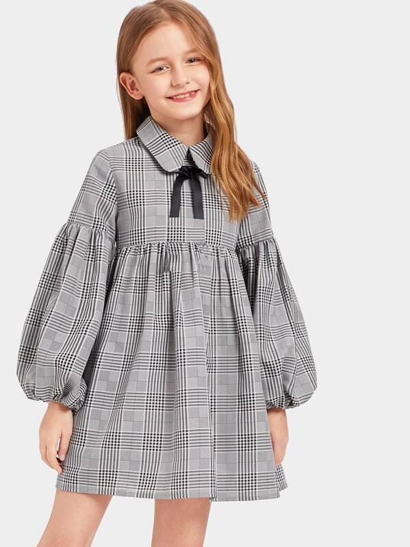 Girls Plaid Lantern Sleeve Tie Neck Babydoll Dress, Sashab