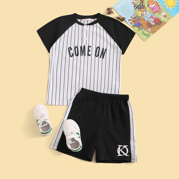 Boys Button Front Raglan Sleeve Top and Shorts Set