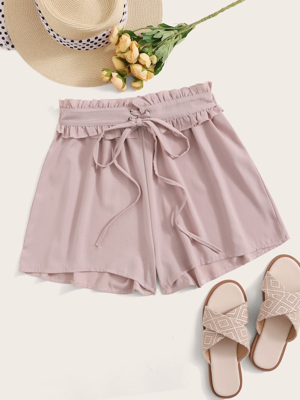 Lace Up Lettuce Frill Shorts, Pink