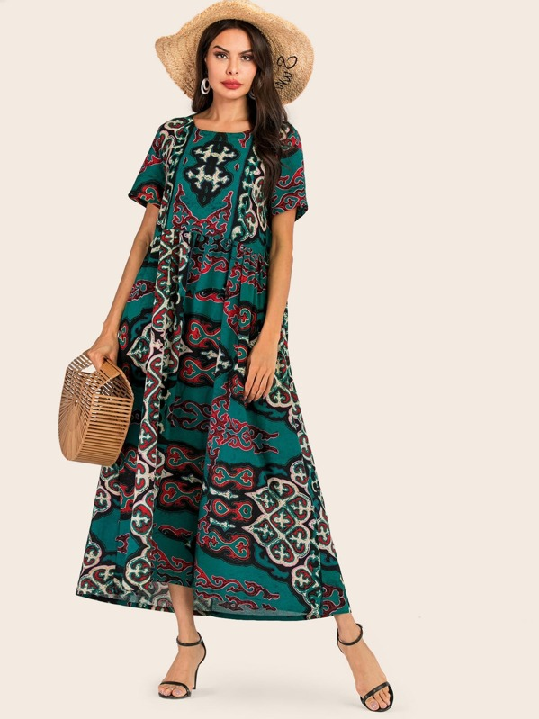 Graphic Pattern Longline Dress, Multicolor