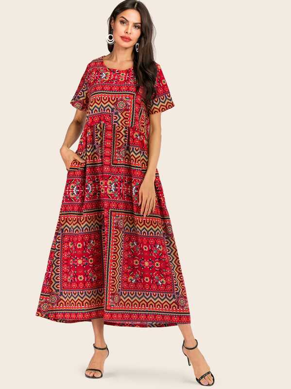 Graphic Pattern Longline Dress, Red