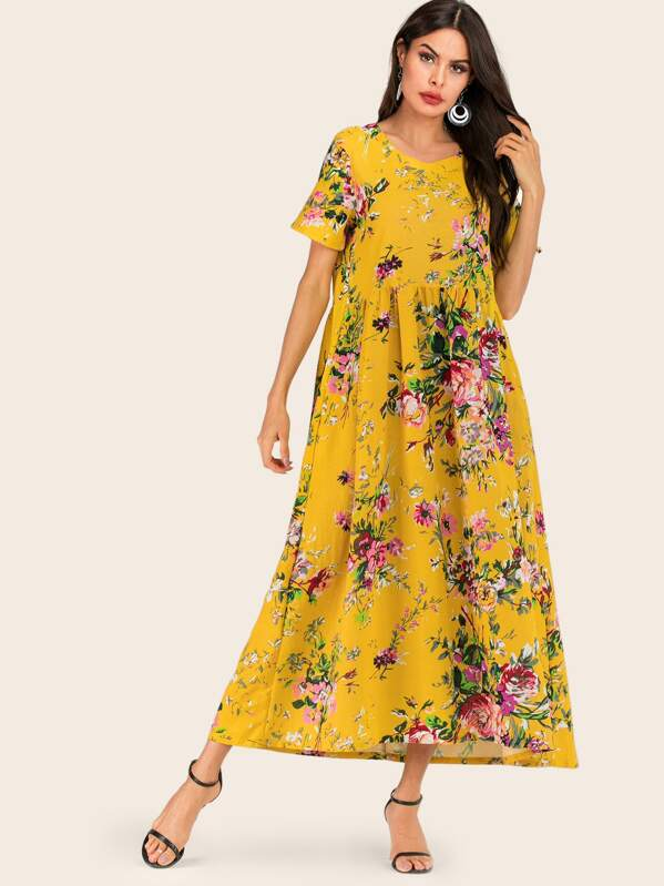 Allover Floral Hidden Pocket Dress, Yellow