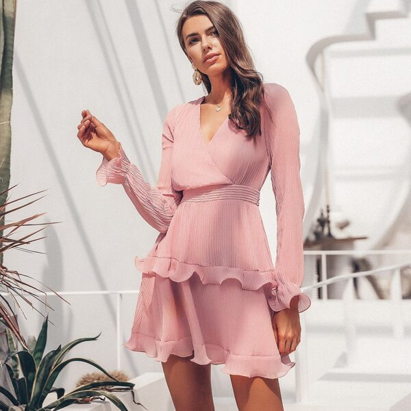 Simplee Surplice Neck Tie Waist Ruffle Trim Plisse Dress, Pink pastel