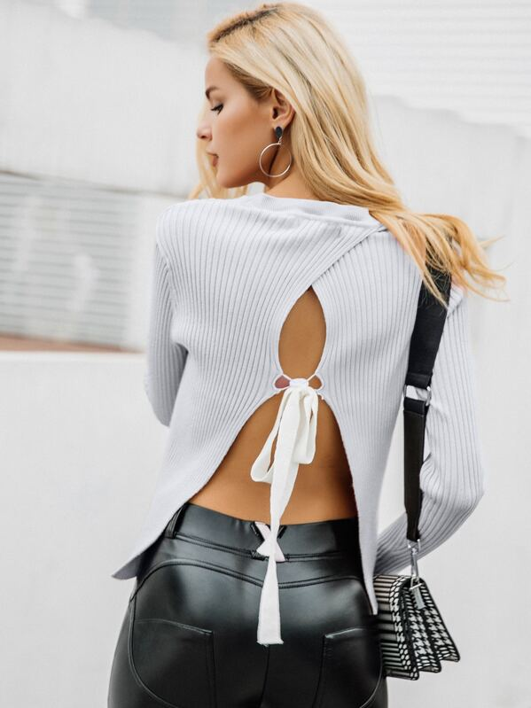 Simplee Tie Back Backless Rib-knit Top, null