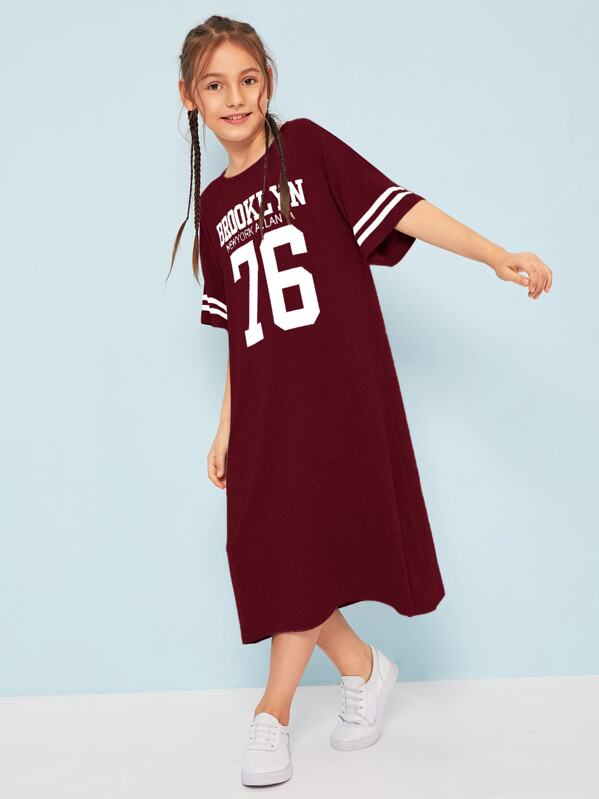 Girls Varsity Print Marled Knit Dress, Alice A
