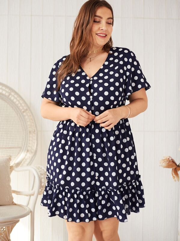 Plus Polka Dot Print Ruffle Hem Dress, Franziska