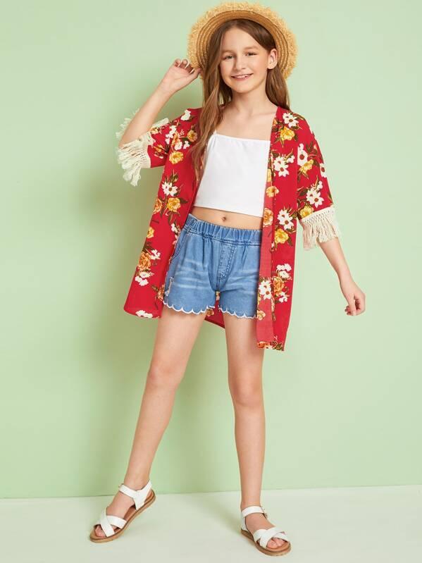 Girls Open Front Tassel Trim Cuff Floral Print Kimono, Sashab