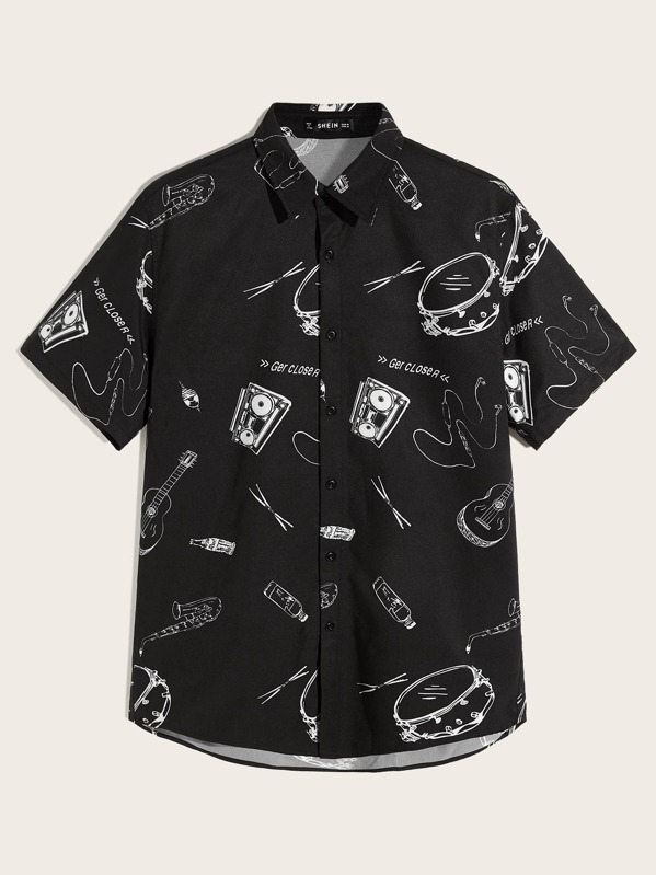 Men Mixed Print Shirt, null