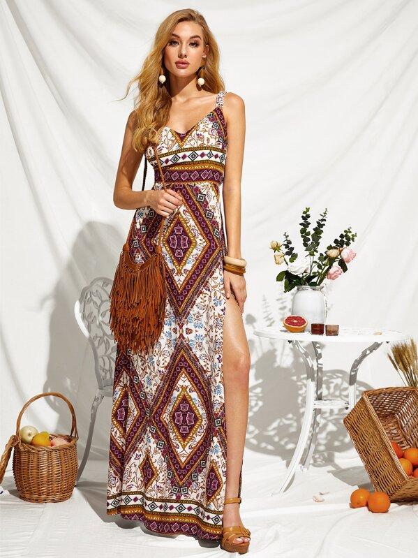 Peekaboo Tie Back Split Thigh Tribal Print Dress, Mary B