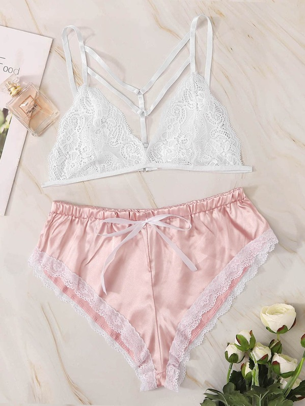 Floral Lace Harness Bralette & Satin Shorts, null