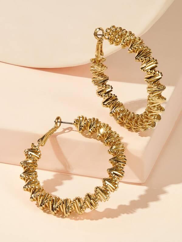 Hollow-out Hoop Earrings 1pair, Gold