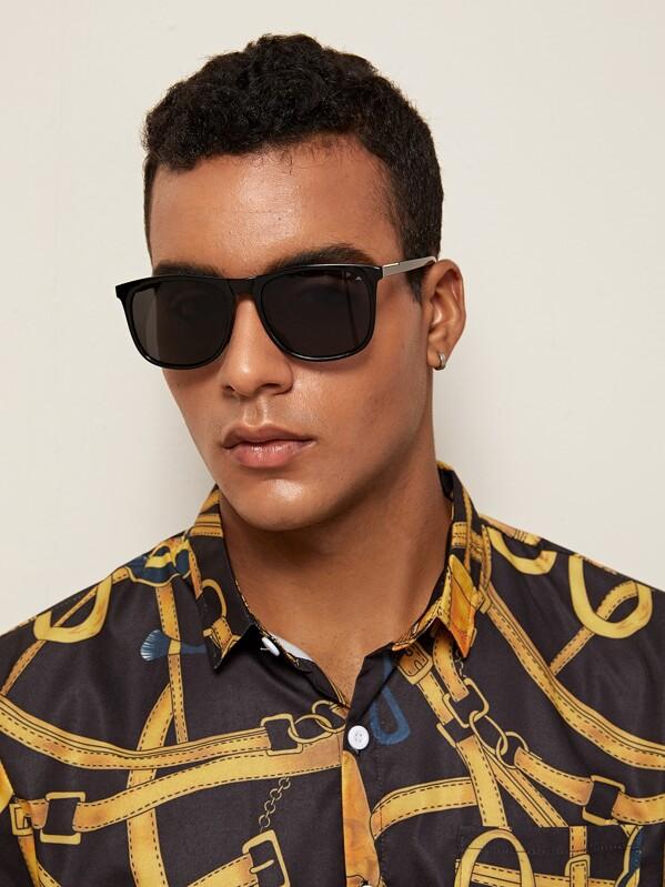 Men Solid Frame Flat Lens Sunglasses, null