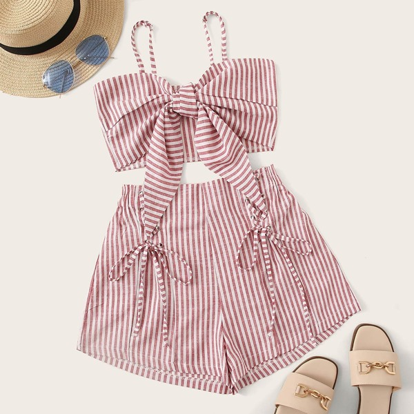 Striped Knot Cami Top And Lace Up Shorts