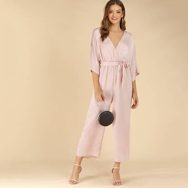 Tie Waist Wide Leg Jumpsuit, Pink