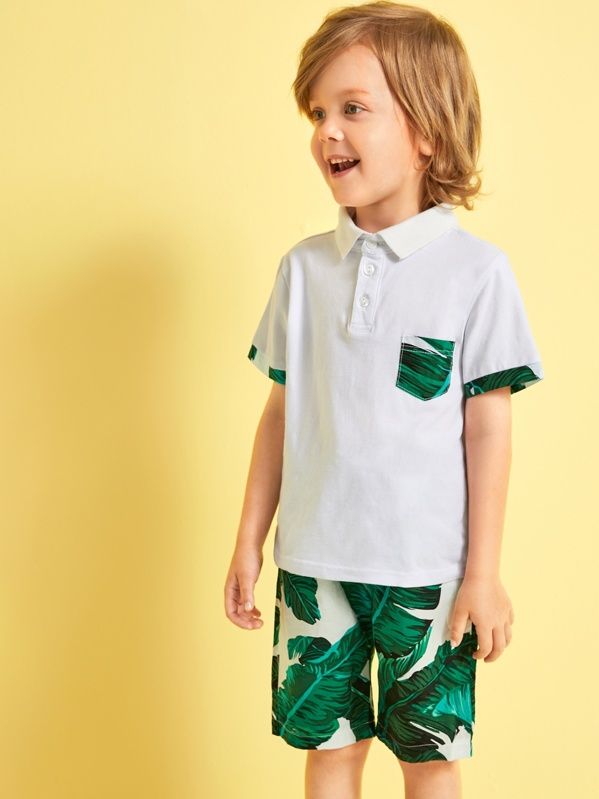 Toddler Boys Contrast Trim Polo Shirt With Tropical Print Shorts, Multicolor, Alex B