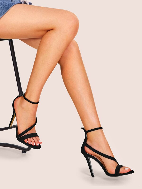 Ankle Strap Open Toe Stiletto Heels, null