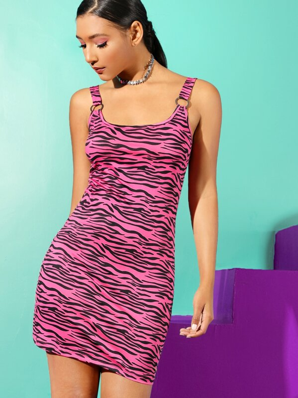 Zebra Print Bodycon Dress With O-ring Strap, Haleigh Wallace