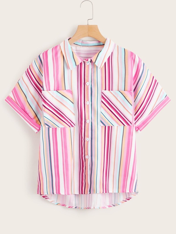Colourful Striped Button Through Blouse, null