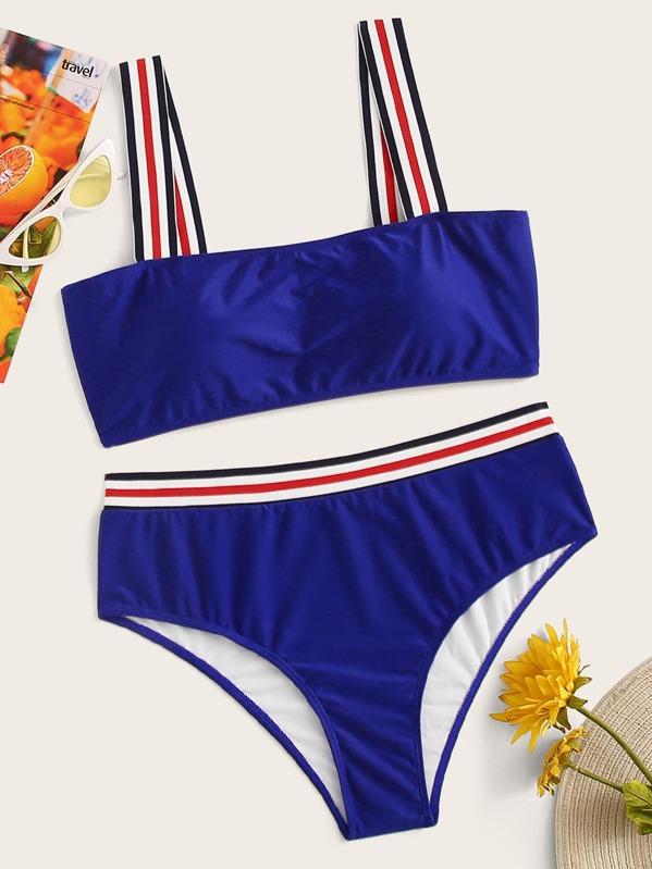 Plus Striped Hem Top With Panty Bikini Set, null
