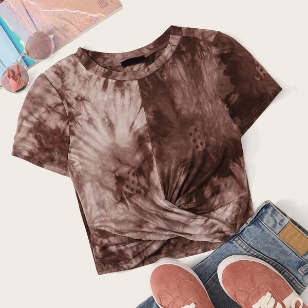 Twist Front Round Neck Tie Dye Top, Brown