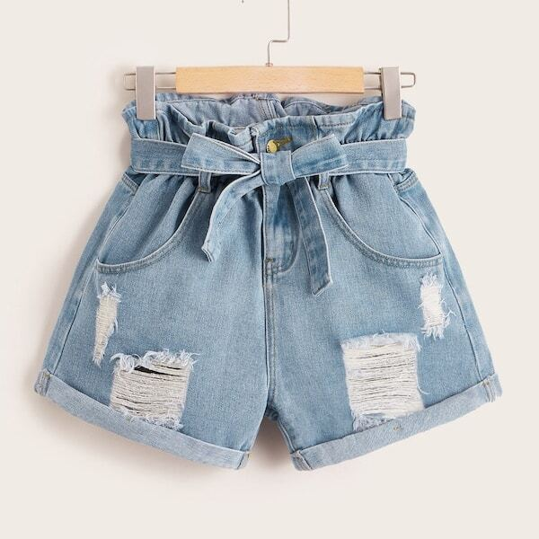 Plus Belt Paper bag Waist Ripped Roll Hem Denim Shorts