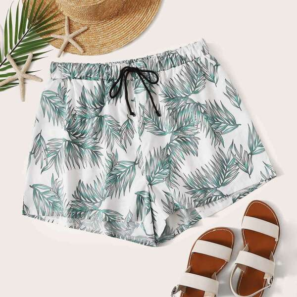 Plus Plant Print Drawstring Waist Shorts