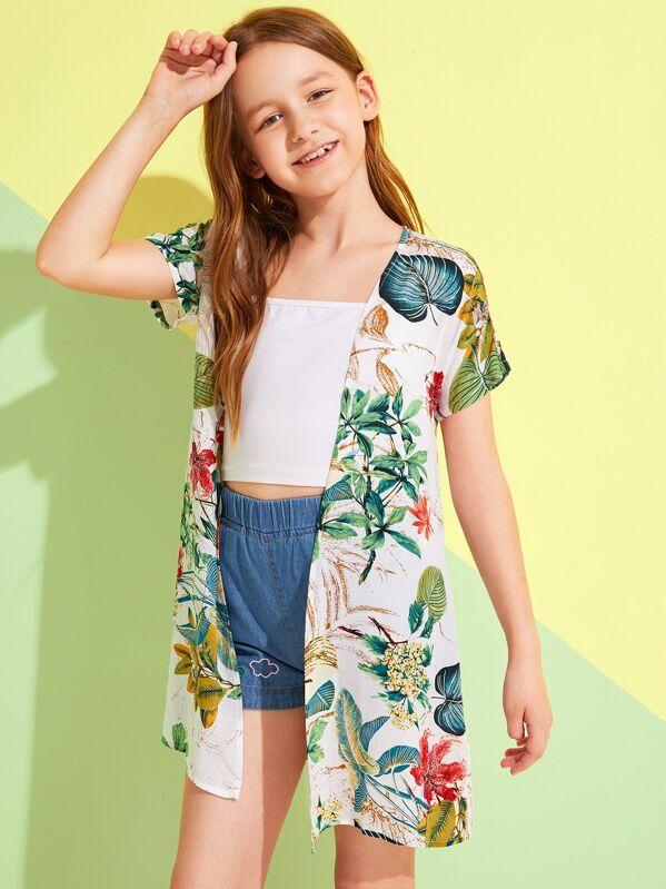 Girls Tropical Print Kimono, Sashab