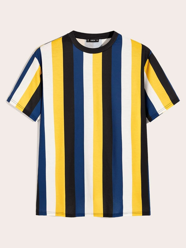 Men Contrast Neck Striped Top, Multicolor