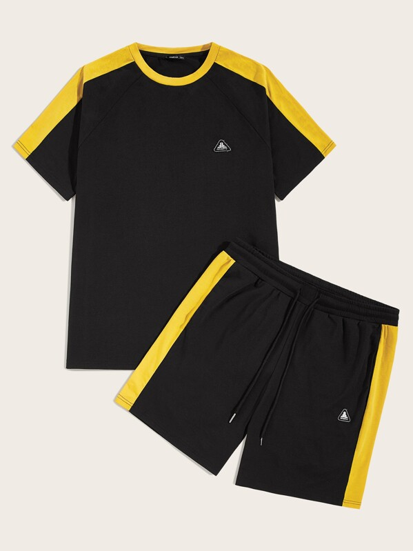 Men Contrast Sideseam Patched Detail Top and Shorts Set