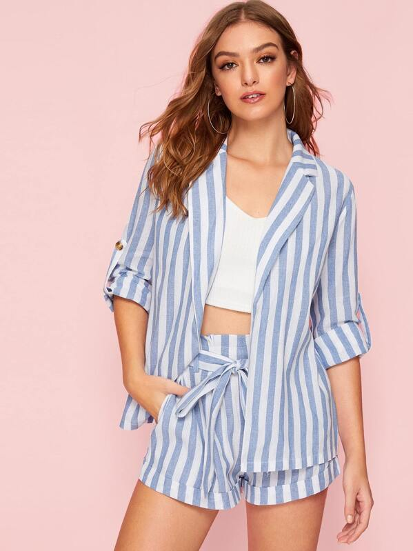 Open Front Notched Collar Roll Up Sleeve Striped Blazer, Luiza