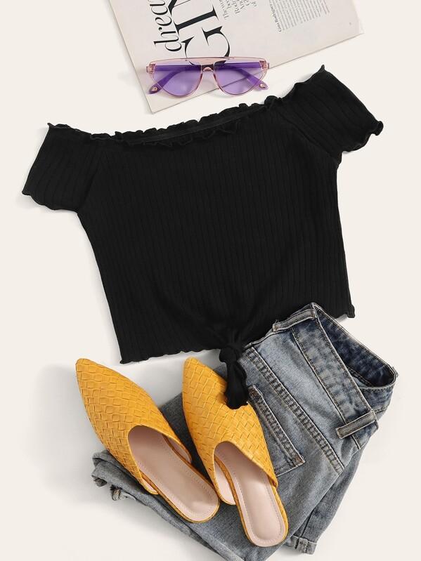 Tie Front Lettuce Trim Rib-knit Bardot Top