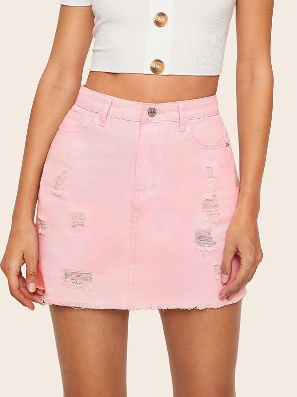 Pink Wash Ripped Raw Hem Denim Skirt, Rasa B
