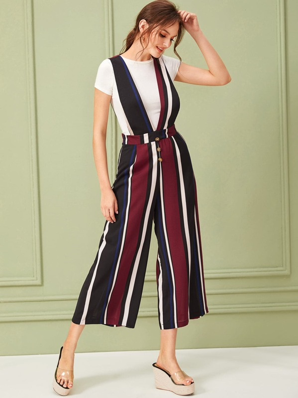 Button Front Striped Wide Leg Jumpsuit, Natalia