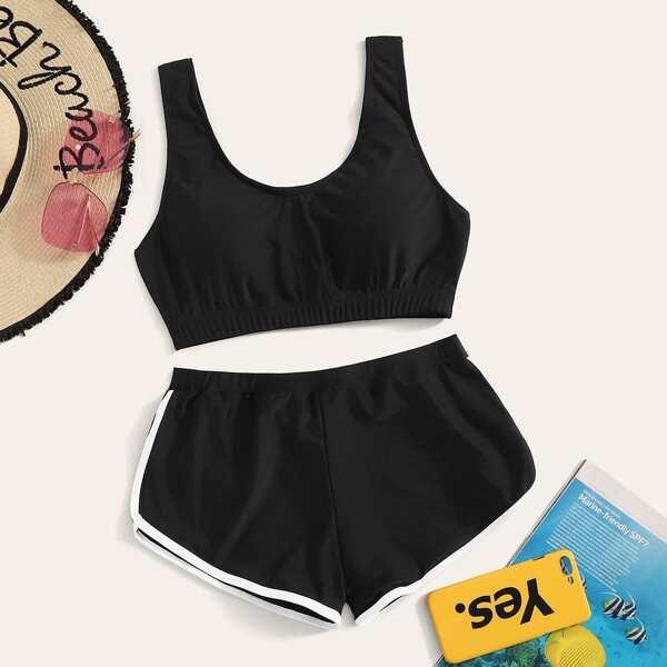 Racerback Top With Shorts Bikini Set
