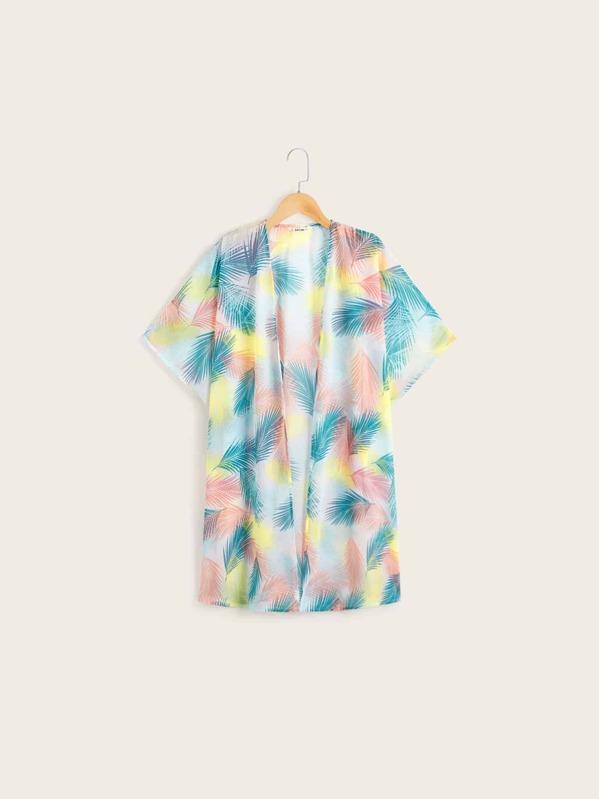 Girls Tropical Print Kimono