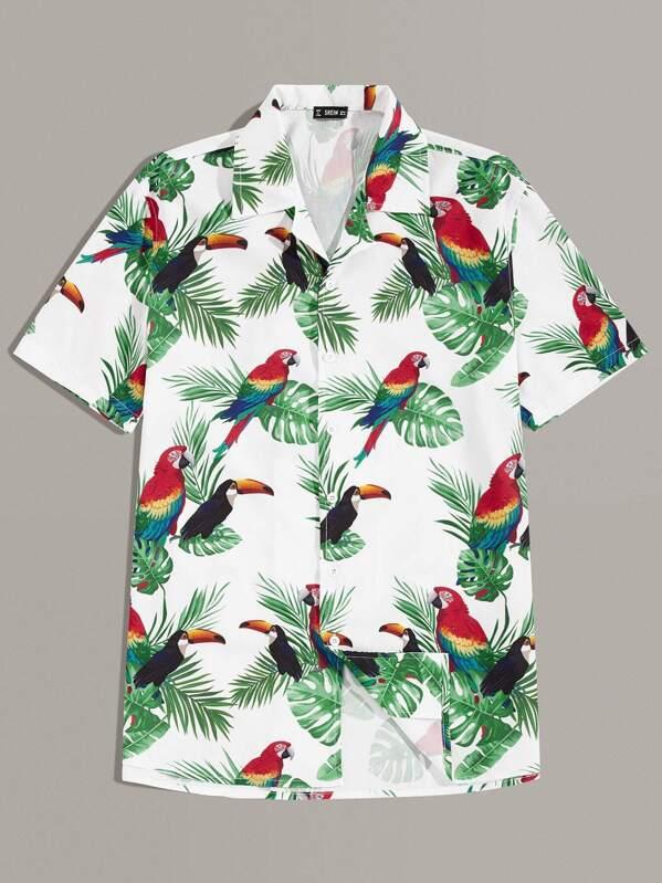 Men Revere Collar Tropical and Animal Print Shirt