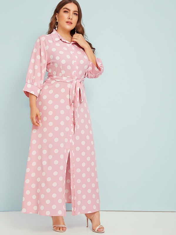 Plus Polka Dot Button Through Belted Shirt Dress, Franziska