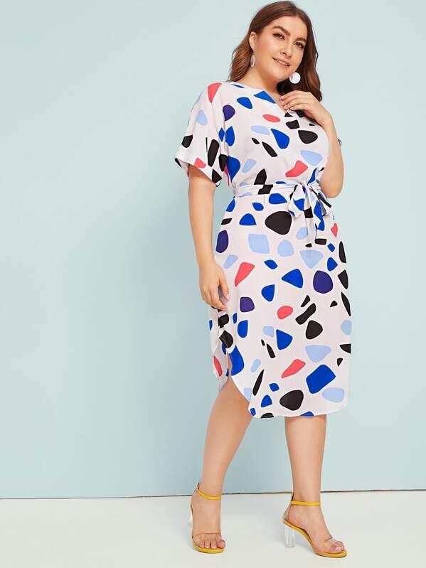 Plus Confetti Print Belted Curved Hem Midi Dress, Multicolor, Franziska