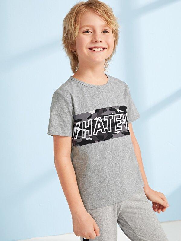 Boys Slogan Print Camo Patched Top, Misha B