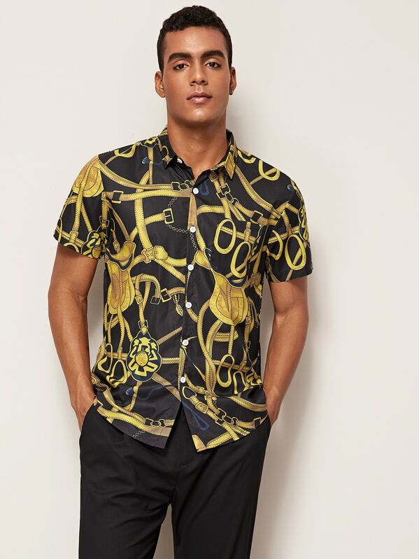 Men Chain Print Pocket Shirt, Gabriel