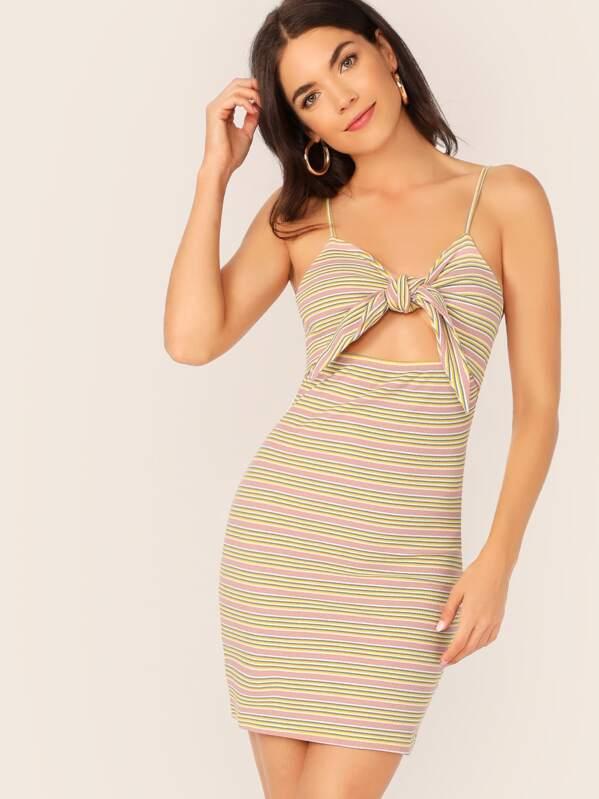 Tie Front Cutout Striped Rib-knit Cami Dress, Multicolor, Aarika Wolf