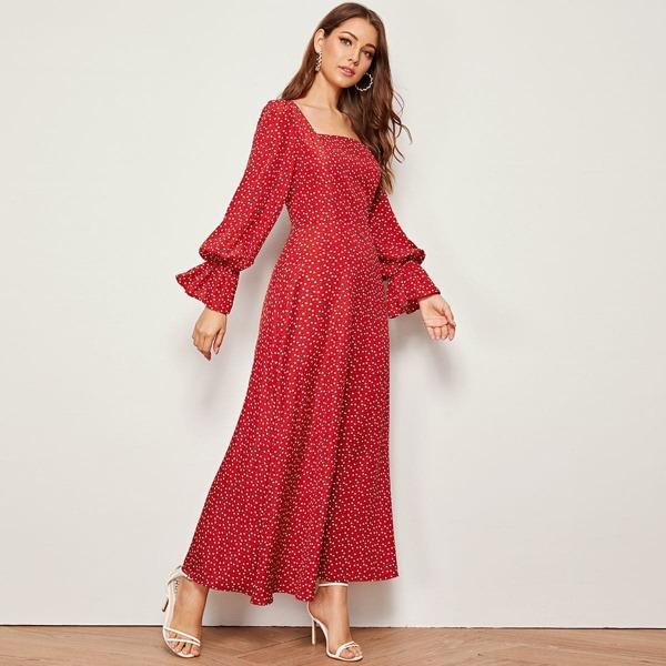 Heart Print Flounce Sleeve Square Neck Maxi Dress