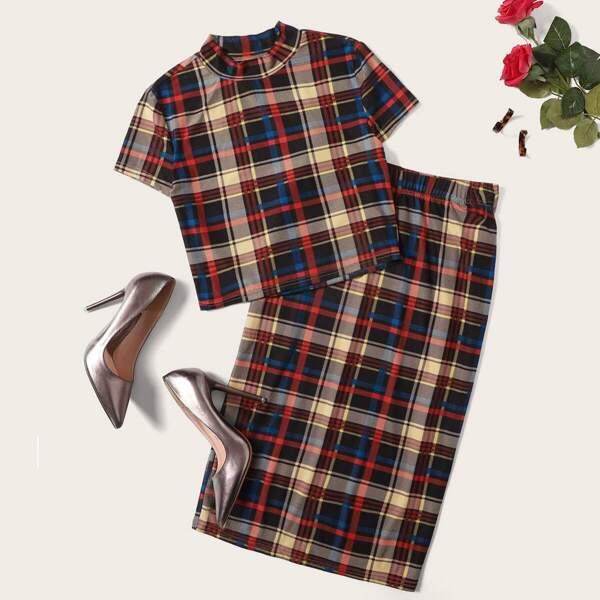 Plus Mock Neck Tartan Print Top & Pencil Skirt Set