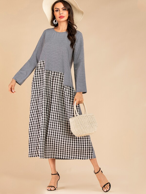 Gingham Contrast Longline Dress, Multicolor