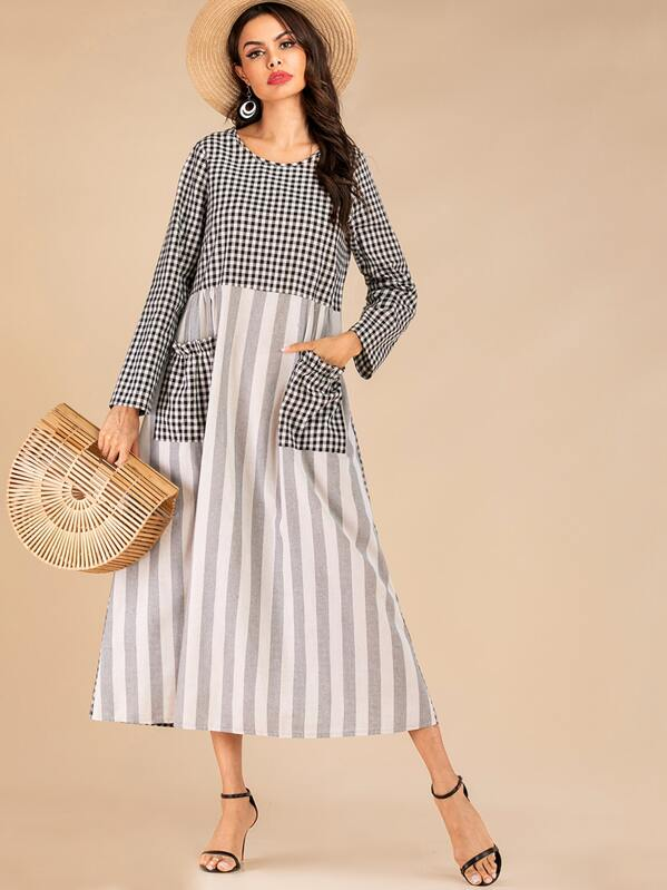 Gingham Contrast Striped Dual Pocket Dress, null